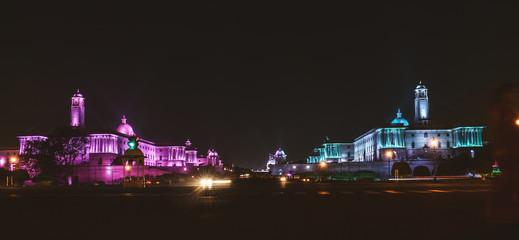 Night time photos of Rashtrapati Bhavan at New Delhi,India