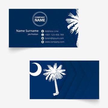 South Carolina Flag Business Card, standard size (90x50 mm) business card template.
