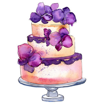 Tasty cake with fruits in a watercolor style isolated. Aquarelle sweet dessert Watercolour drawing fashion aquarelle