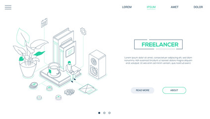 Freelancer - line design style isometric web banner