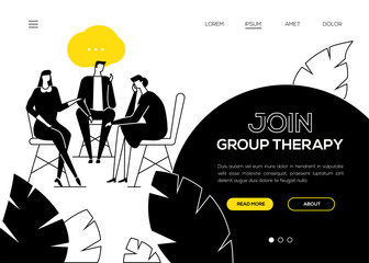 Join group therapy - flat design style web banner