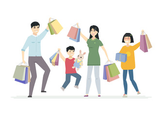 Happy Chinese family enjoys shopping - cartoon people characters illustration
