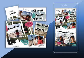 Vacation Social Media Grid Set Layout with Snapshots and Painted Photo Mask Backgrounds