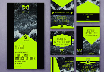 Black Marble Social Media Layout Set Layout with Neon Green Accents