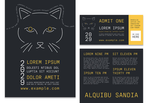Black Event Pack Layout with Yellow Illustrated Abstract Cat Elements
