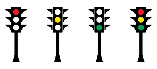 Traffic lights vector illustration. Red, yellow and green lights. Traffic control stop sign.