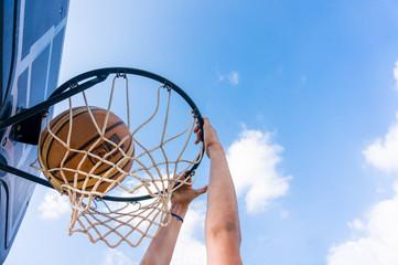 Slam dunk in street basketball
