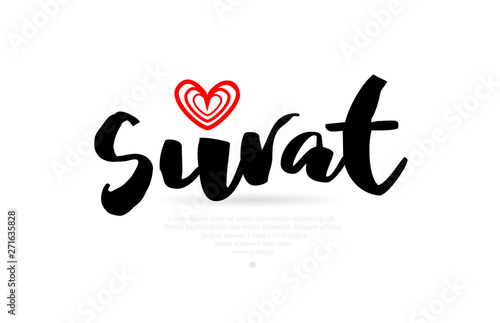 Surat City With Red Heart Design For Typography And Logo