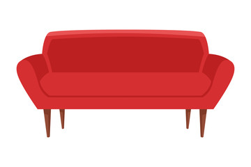 red couch icon cartoon isolated