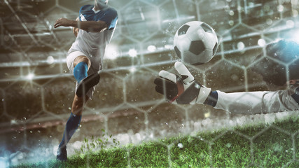Goalkeeper catches the ball in the stadium during a football game Wall mural