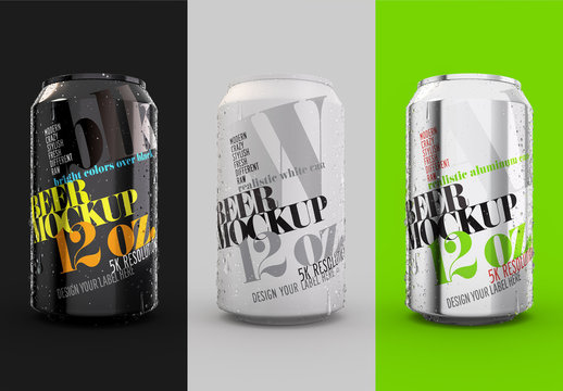 Realistic Aluminum Can Drink Packaging Design Mockup