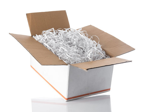 Shredded paper in the white box for packing product,impact protection