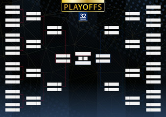 Two conference tournament bracket for 32 team or player on dark background.