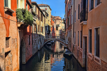 Canal and houses in Venice, Italy