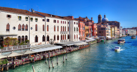 Restaurants along the Grand Canal in Venice, Italy