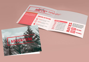 Adventure Camp Brochure Layout with Red Accents