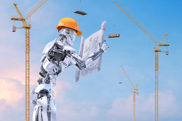 Robot foreman engineer in hardhat holding construction drawings against construction site with tower cranes. Buildings under construction. Robot engineer ai technology concept. Clipping path.3D render