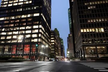 downtown reflection traffic light