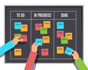 scrum management board, project process sticky note and planning notes, vector illustration