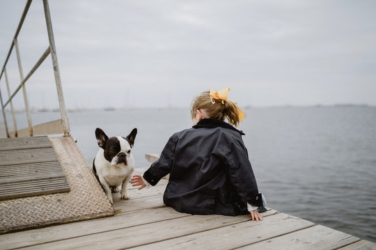 Back view of little girl with French Bulldog sitting on pier near sea on dull cloudy day