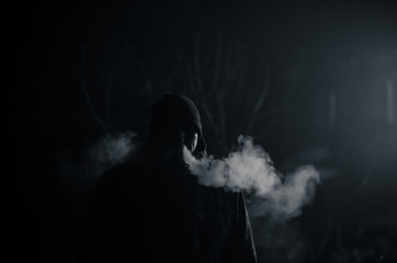 smoking alone at night