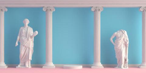 3d-illustration of interior with antique statues and columns Wall mural