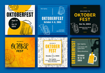 Oktoberfest Social Media Banner Set Layout with Illustrative Elements