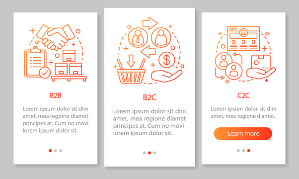 Business marketing mobile app page screen vector template