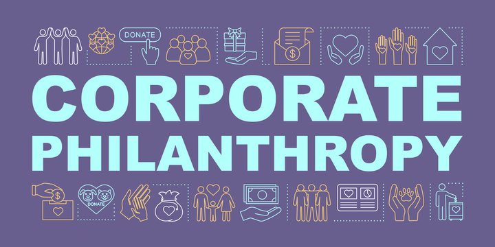 Corporate philanthropy word concepts banner
