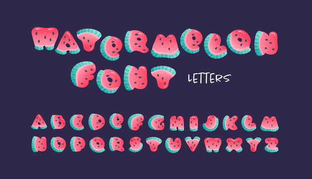 Vector cartoon summer fruit font. Alphabet with cute watermelon letters carved from slices of watermelon with seeds and small highlights isolated on black. Design for sale of children goods, services.