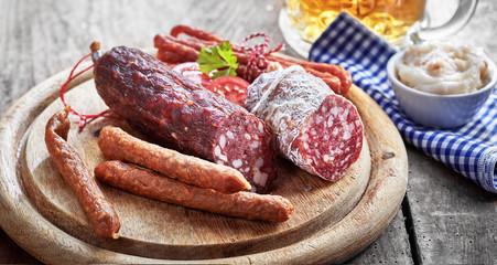 Assortment of spicy dried wild venison sausages