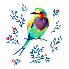 Gouache iridescent garden bird on a branch with natural elements