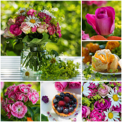 Colorful collage of flower photos and sweet treats