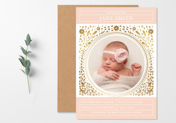 Floral Baby Announcement Layout