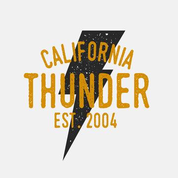 Vintage Thunderbolt logo. Vector logo template with grunge texture. Thunder emblem.