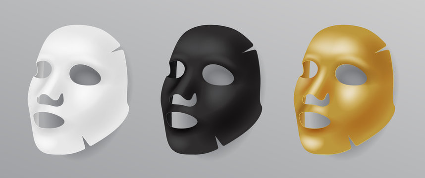 Set white, gold and black face mask, cosmetic procedures, rejuvenation, realistic vector illustration isolated.