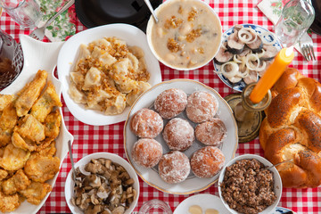 106dd14a5862 Traditional Christmas table in Ukraine. Twelve dishes: kutya, stewed fruit,  dumplings with