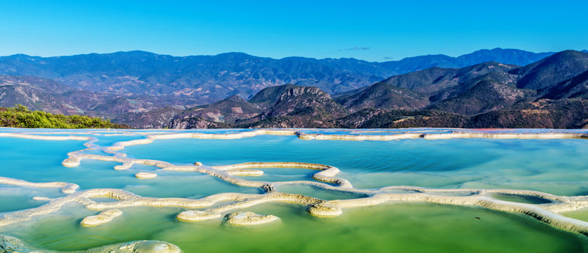 Hierve el Agua in the Central Valleys of Oaxaca. Mexico