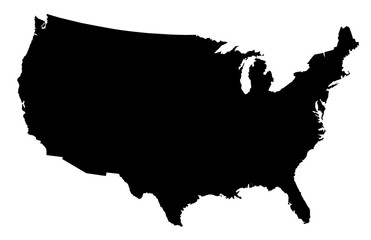 USA Map Black Silhouette Fotomurales