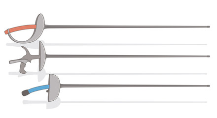 fencing swords, saber, foil, epee, isolated on white background