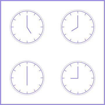 Analog Wall Clock With 3:00 Or 15:00; 5:00 am Or 5:00 pm. With 5:00 Or 17:00; 9:00 am Or 21:00 pm. 8:00 am Or 20:00 pm.The Gray Dial Without Numbers Shedule For Business Or Education