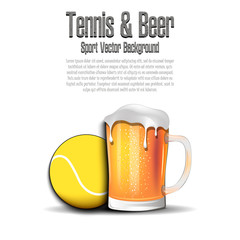 Tennis ball with mug of beer