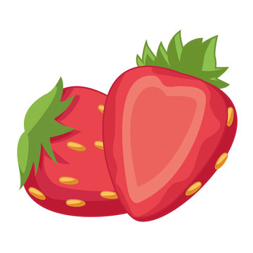 Strawberries half cut fruits cartoon