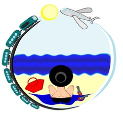 Vector illustration - Travel - I want to go to the sea - a picture on a round background on which a woman in a bathing suit and hat sits with her back to the viewer and looks at the sea, along the