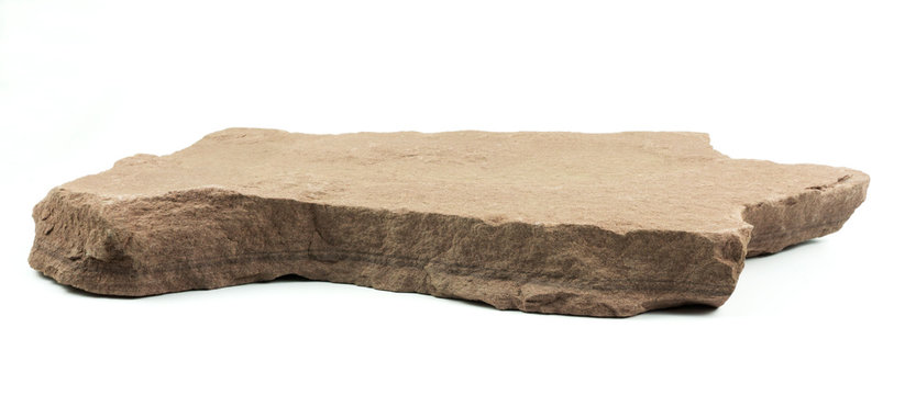 Stone pedestal isolated on white background. for product display, Blank for mockup design.