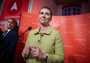Opposition leader Mette Frederiksen of The Danish Social Democrats after the election results at Christiansborg Castle in Copenhagen