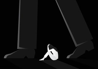 Obraz sad woman sitting alone between man walking vector illustration. violence against women. sexual harassment concept - fototapety do salonu