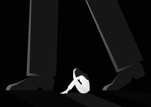 sad woman sitting alone between man walking vector illustration. violence against women. sexual harassment concept