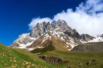 Chaukhi Mountain in sunny day. Caucasus, Georgia