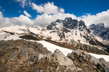 Chaukhi massif in snow. Caucasus, Georgia